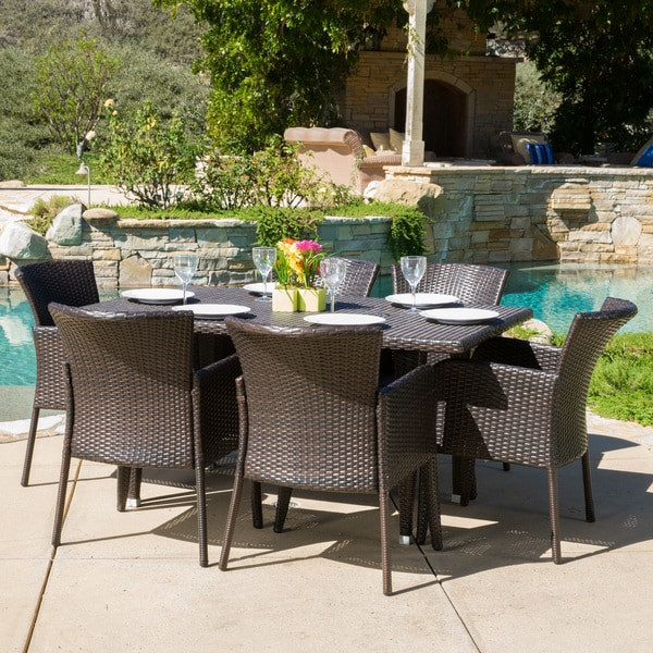 Anaya Outdoor 7-piece Wicker Dining Set by Christopher Knight Home -  295949