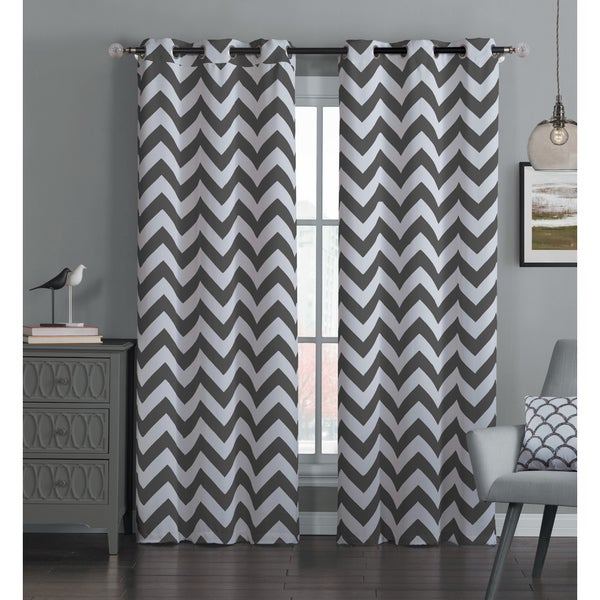 Avondale Manor Blackout Chevron Curtain Panel Pair (As Is Item)