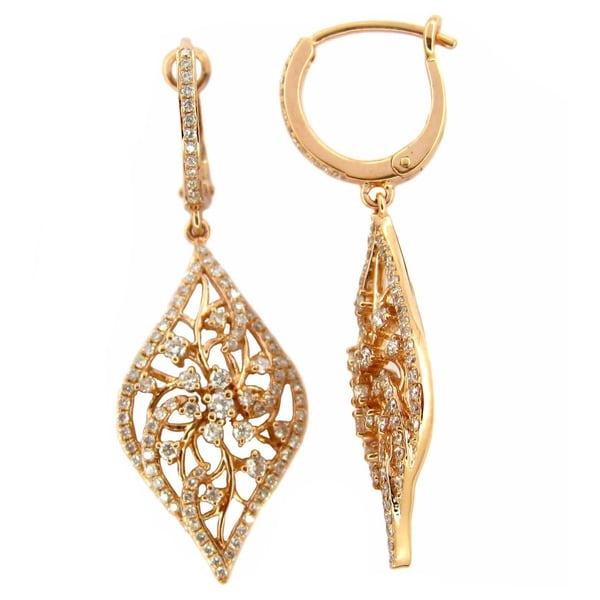 Kabella Luxe 18k Rose Gold 1ct TDW Diamond Filigree Dangling Earrings (G-H, SI1-SI2)