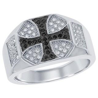La Preciosa Sterling Silver Men's Black and White Micropave Cubic Zirconia Cross Ring