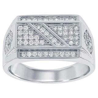 La Preciosa Sterling Silver Men's Cubic Zirconia Flat Top Ring