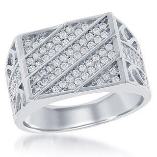 La Preciosa Sterling Silver Men's Micropave Cubic Zirconia Designed Ring