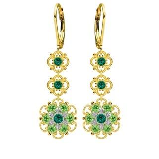 Lucia Costin Sterling Silver Dark Green/ Light Green Crystal Earrings