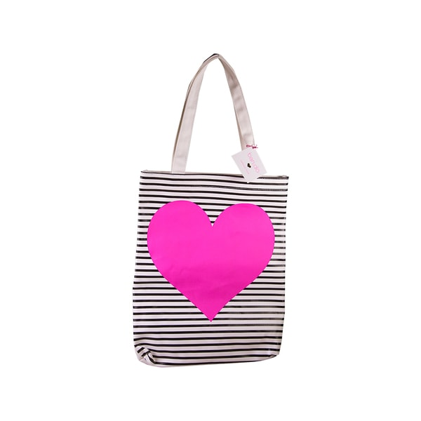 Ban.do Canvas Tote Neon Heart with Stripes