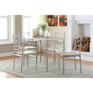 Transitional Brushed Silver 5-piece Dining Set