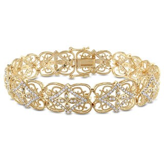 Miadora Signature Collection 14k Yellow Gold 1 1/2ct TDW Diamond Link Bracelet (G-H, SI1-SI2)