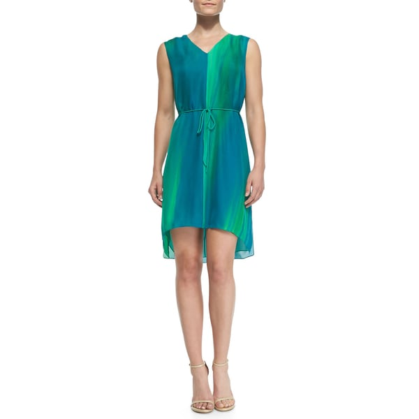 Elie Tahari Dorene Blue High-Low Silk Dress