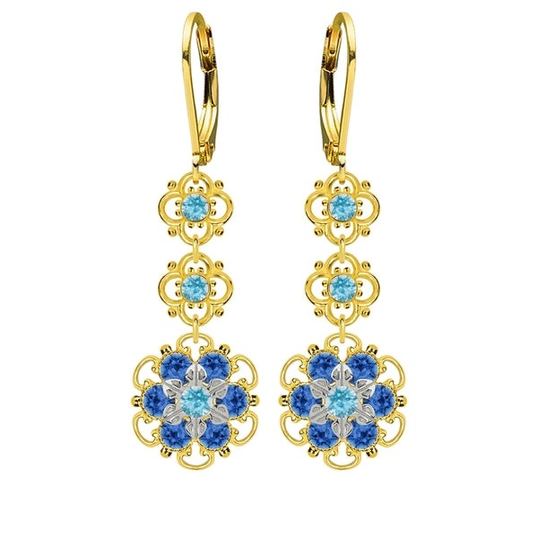 Lucia Costin Sterling Silver Light Blue/ Blue Crystal Earrings 16414675