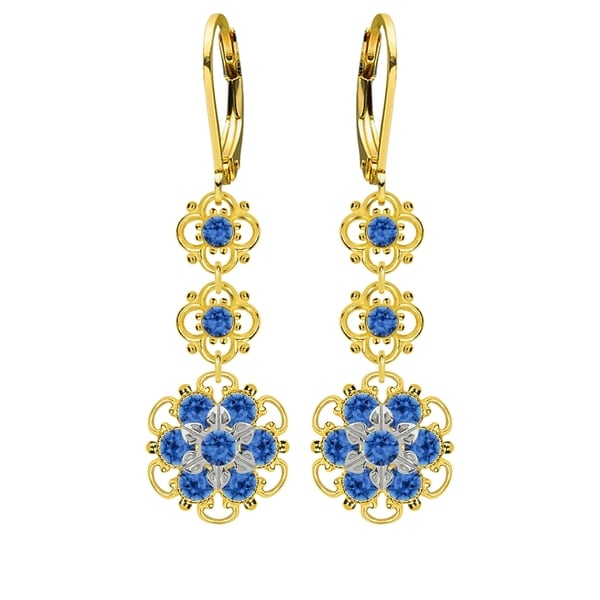 Lucia Costin Sterling Silver Blue Crystal Earrings 16414689