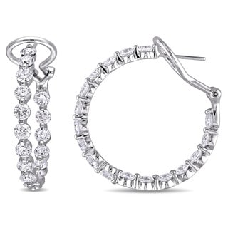 Miadora Signature Collection 14k White Gold 6 4/5ct TDW Diamond Hoop Earrings (G-H,SI1-SI2)