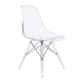 Eames Style DSW Side Chair with Clear Seat and Legs
