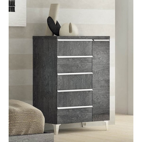 Luca Home Grey Five-drawer Dresser with Door