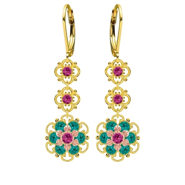 Lucia Costin Sterling Silver Fuchsia/ Turquoise Green Crystal Earrings 16414870