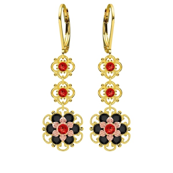 Lucia Costin Sterling Silver Red/ Black Crystal Earrings 16414871
