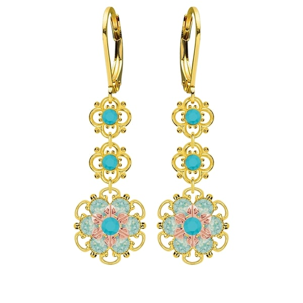 Lucia Costin Sterling Silver Turquoise/ Mint Blue Crystal Earrings 16414946