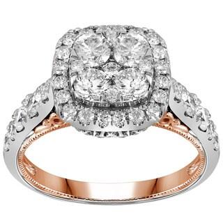 14k Two-tone Gold 2ct TDW Diamond Cluster Engagement Ring (G-H, I1-I2)