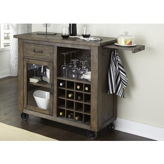 Franklin Rustic Brown and Metal Wine Cabinet