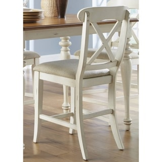 Ocean Isle Bisque & Natural Pine X Back 24 Inch Barstool