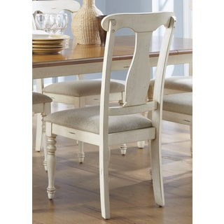 Ocean Isle Bisque & Natural Pine Splat Back Side Chair