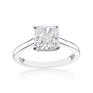 SummerRose Platinum 3ct TDW Radiant-cut Diamond Solitaire Ring (E-F, SI1-SI2)