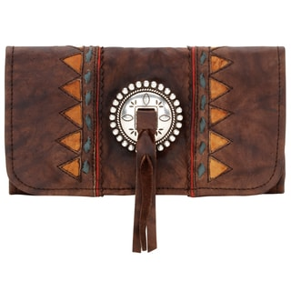 American West Brown Leather Tri-fold Wallet