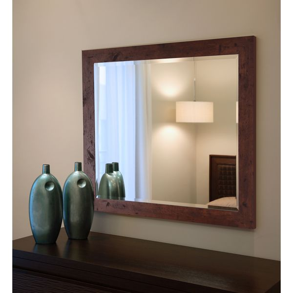 American Made Rayne Rustic Dark Walnut Wall/ Vanity Mirror - Dark Walnut 16415458
