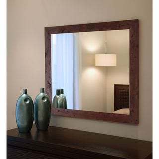 American Made Rayne Dark Walnut Rustic Pine Mirror