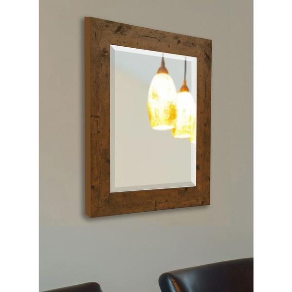American Made Rayne Rustic Light Walnut Wall/ Vanity Mirror 16415502