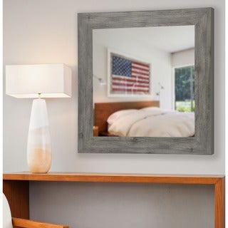American Made Rayne Grey Barnwood Square Wall Mirror