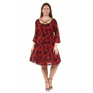 24/7 Comfort Apparel Women's Plus Size Abstract Print Split-Sleeve Dress