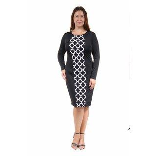 24/7 Comfort Apparel Women's Plus Size Eyelet Printed Sheath Dress