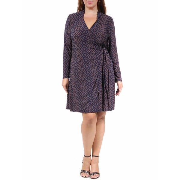 24/7 Comfort Apparel Women's Plus Size Chocolate&Navy V-Neck Wrap Dress
