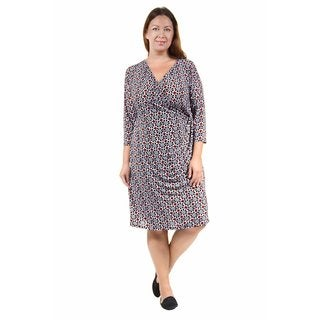 24/7 Comfort Apparel Women's Plus Size Abstract Printed Faux-Wrapped Dress