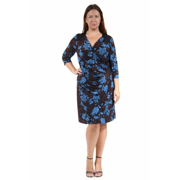 24/7 Comfort Apparel Women's Plus Size Fall Floral Printed Wrap Dress