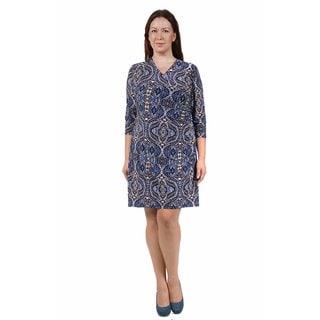 24/7 Comfort Apparel Women's Plus Size Blue&Cream Abstract Print Faux Wrap Dress