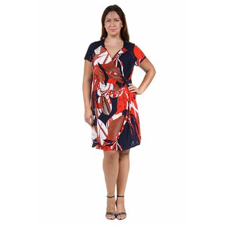 24/7 Comfort Apparel Women's Plus Size Oriental Print Faux Wrapped Dress