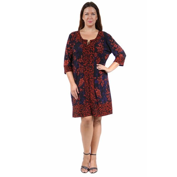 24/7 Comfort Apparel Women's Plus Size Fall Red Floral Polka-Dot Shift Dress