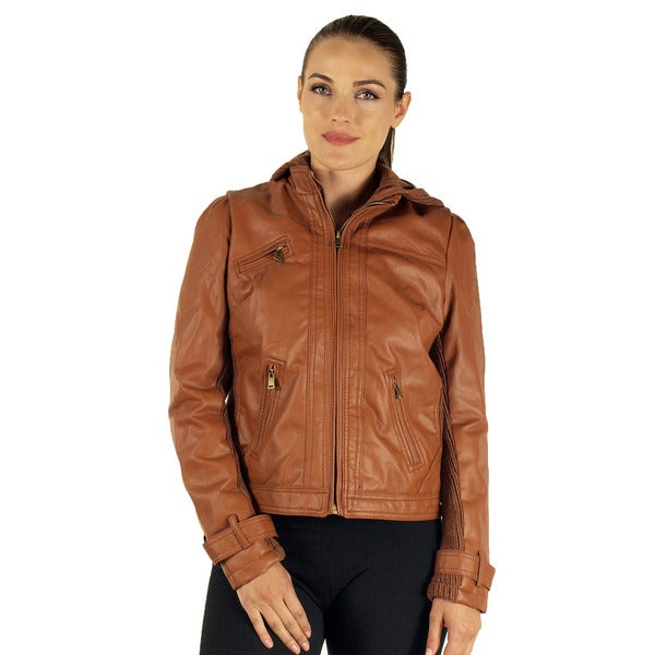 Viva USA Women's Cognac Hooded Zip Up PU Jacket
