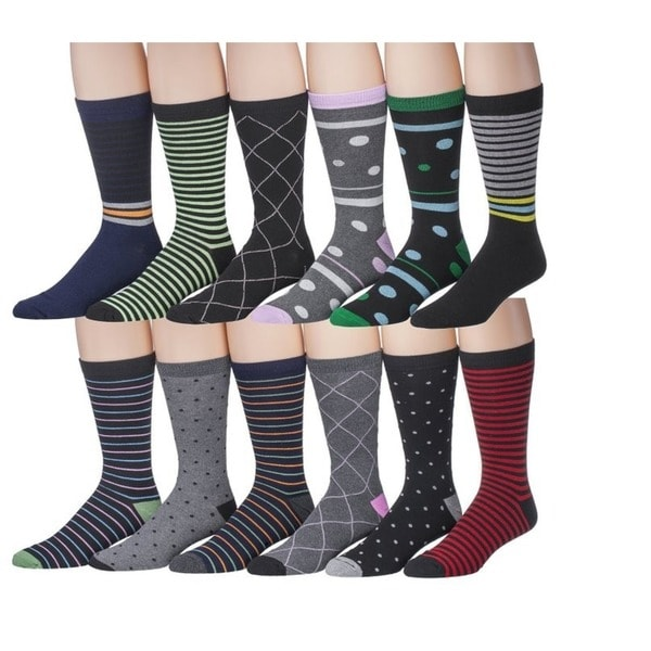 Men's Fashion Designer Dress Socks 12-Pack