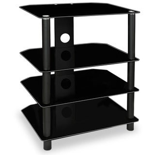 Mount-it! MI-867 Contemporary Multi-level Media Component Stand with Four Black Glass Shelves