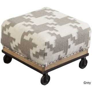 """Chesnay Houndstooth Foot Stool (16.8"""" x 16.8"""" x 11.6"""")"""