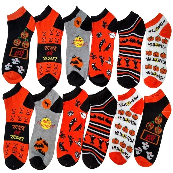 Women's Halloween Design Ankle Socks 12-Pack