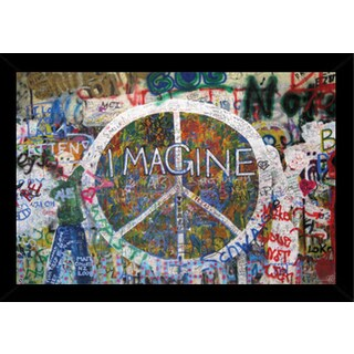 Peace Wall Print (36-inch x 24-inch) with Traditional Black Frame
