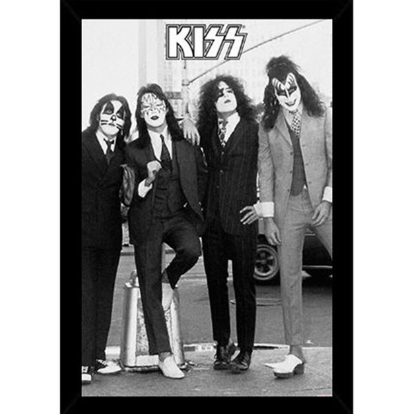 Kiss Black and White Print (24-inch x 36-inch) with Traditional Black Frame