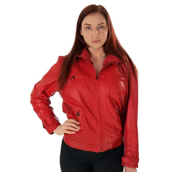 Viva USA Women's Plus Size Red Zip Up PU Jacket