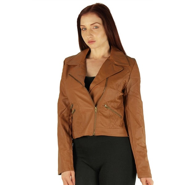 Viva USA Women's Quilted Cognac Zip Up PU Jacket