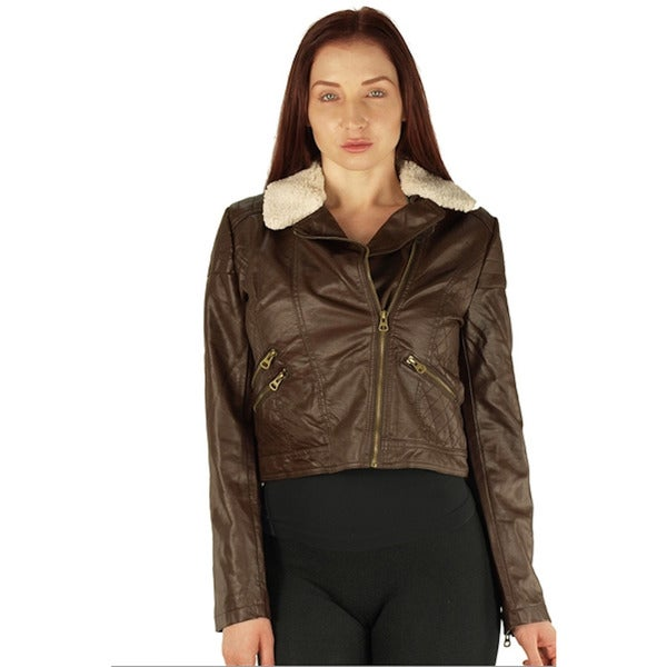 Viva USA Women's Brown Zip Up PU Fleece Collar Jacket