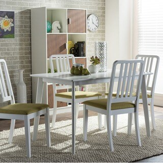 Baxton Studio Jasmine 5-piece Mid-century White Wood Dining Set with Green Upholstered Dining Chairs