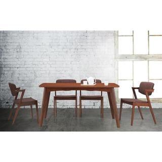 Baxton Studio Elegant Mid-century Modern Scandinavian Style Dark Walnut Wood Brown Fabric Upholstered 5-piece Dining Set