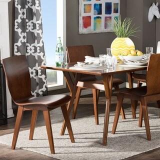Baxton Studio Elsa 5-piece Mid-century Scandinavian Style Dark Walnut Bent Wood Dining Set